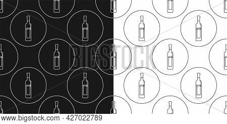 Two View Seamless Pattern Of Bottle Of Vodka In Flat Style In Form Of Thin Lines. In The Form Of Bac