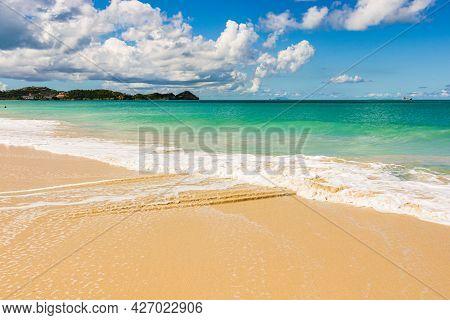 Beach In Antigua And Barbuda Island, West Indies In The Caribbean Sea
