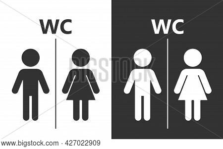 The Icon Of A Man And A Woman, Suitable To Indicate The Separation Of The Bath And Toilet, Tolerance