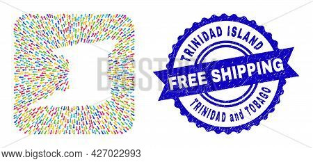 Vector Mosaic Trinidad Island Map Of Movement Arrows And Scratched Free Shipping Stamp. Mosaic Trini