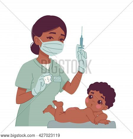 Vaccination Of A Newborn Naked Baby. Black Boy Infant And Black Doctor Or Nurse Holding A Syringe. P