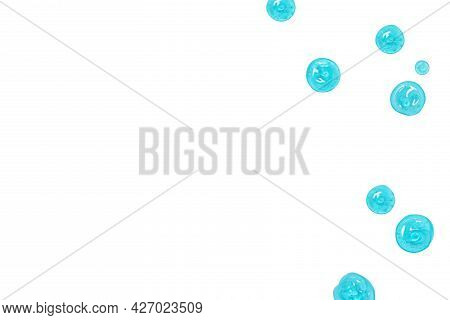 Antibacterial Transparent Gel Drops Pattern On White Background, Top View