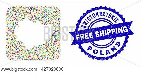 Vector Mosaic Swietokrzyskie Voivodeship Map Of Leaving Arrows And Rubber Free Shipping Seal Stamp.