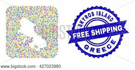 Vector Mosaic Skyros Island Map Of Emigration Arrows And Grunge Free Shipping Stamp. Mosaic Skyros I