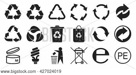 Packing And Recycling Icons Set Isolated On White Background. Recycling And Environmental Cleanlines