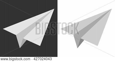 Paper Airplane Vector. Jet White Paper Airplane Isolated On White Background