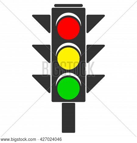 Pedestrian Traffic Light, Regulated Traffic, Road Traffic Rule, Colorful Flat Vector Icon Isolated O