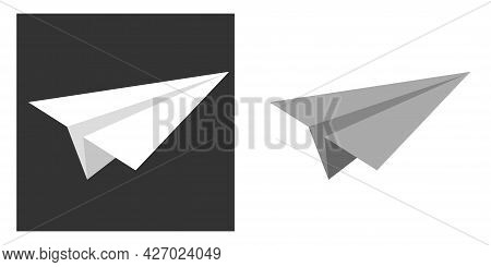 Handmade Paper Plane Vector Set In Flat Style Isolated From Background. Origami Plane Collection. A
