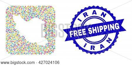 Vector Mosaic Iran Map Of Emigration Arrows And Scratched Free Shipping Seal Stamp. Mosaic Iran Map