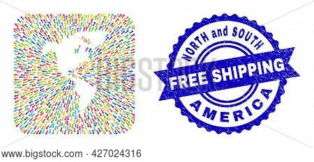 Vector Collage South And North America Map Of Emigration Arrows And Rubber Free Shipping Seal. Colla