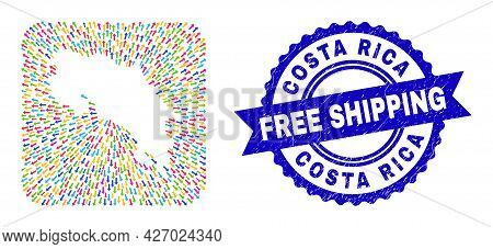 Vector Collage Costa Rica Map Of Out Arrows And Grunge Free Shipping Seal. Collage Costa Rica Map Cr
