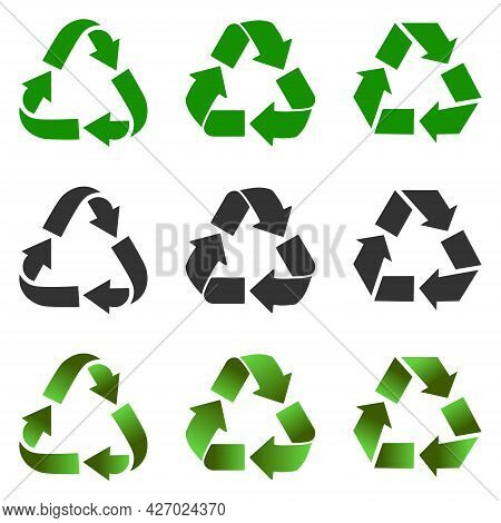 Recycling Or Recycling Icons Set In Green, Gray, Black Color Isolated On White Background.vector Ill