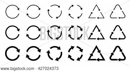 Recycle, Recycling And Recycling Icons Set Gray And Black. Reuse Symbol. Vector Illustration Isolate