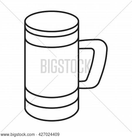 Wooden Mug Vector Icon.outline Vector Icon Isolated On White Background Wooden Mug.