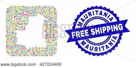 Vector Collage Mauritania Map Of Pointing Arrows And Scratched Free Shipping Badge. Collage Mauritan
