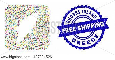 Vector Collage Rhodes Island Map Of Emigration Arrows And Rubber Free Shipping Stamp. Collage Rhodes