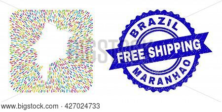 Vector Mosaic Maranhao State Map Of Pointing Arrows And Rubber Free Shipping Badge. Mosaic Maranhao