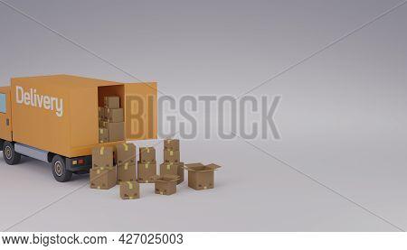 Logistic Delivery Courier Truck Loading Or Unload Shopping Cardboard Parcel Box 3d Rendering Illustr