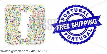 Vector Collage Portugal Map Of Delivery Arrows And Grunge Free Shipping Seal. Collage Portugal Map D