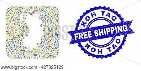 Vector Mosaic Koh Tao Map Of Navigation Arrows And Rubber Free Shipping Seal. Mosaic Koh Tao Map Des