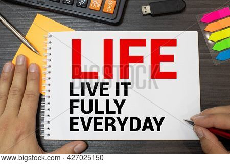 Life Wooden Alphabets On Wood Background With Text Acronym Live It Fully Everyday