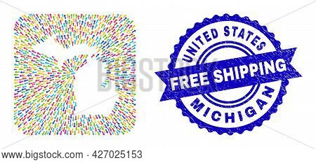 Vector Mosaic Michigan State Map Of Direction Arrows And Rubber Free Shipping Stamp. Mosaic Michigan