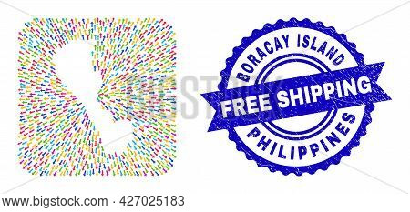 Vector Mosaic Boracay Island Map Of Leaving Arrows And Rubber Free Shipping Seal Stamp. Mosaic Borac