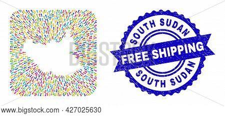 Vector Mosaic South Sudan Map Of Migration Arrows And Rubber Free Shipping Badge. Mosaic South Sudan