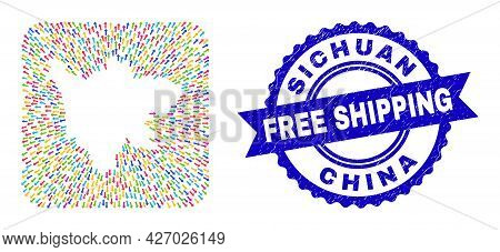 Vector Collage Sichuan Province Map Of Away Arrows And Rubber Free Shipping Seal. Collage Sichuan Pr