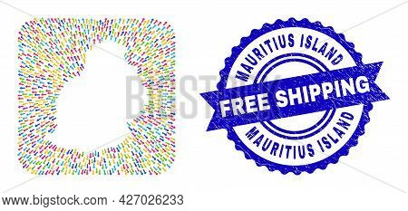 Vector Mosaic Mauritius Island Map Of Motion Arrows And Rubber Free Shipping Seal. Mosaic Mauritius