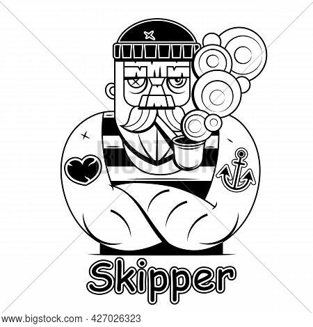Hand Drawn Vintage Hipster Sailor With Thick Beard