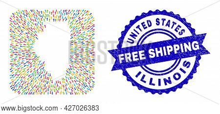 Vector Mosaic Illinois State Map Of Delivery Arrows And Rubber Free Shipping Seal. Mosaic Illinois S