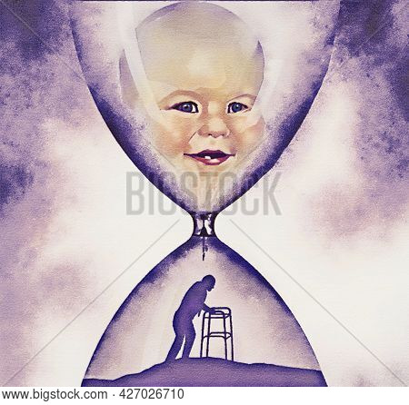 A Baby's Face Is In The Top Of An Hourglass And Below Is An Old Man He Becomes Over Time In This 3-d