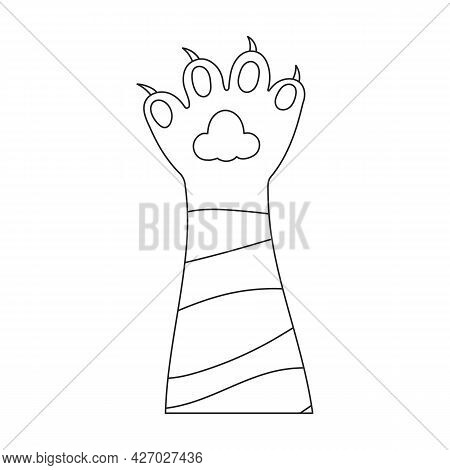 Paw Cat Vector Outline Icon. Vector Illustration Foot On White Background. Isolated Outline Illustra