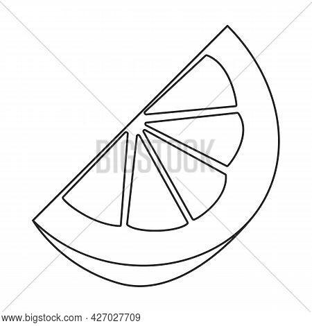 Lemon Vector Outline Icon. Vector Illustration Citrus On White Background. Isolated Outline Illustra
