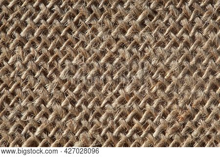 Burlap Macro Texture. Sackcloth Texture With Or Background From Natural Fabric Bags. Presentation Co