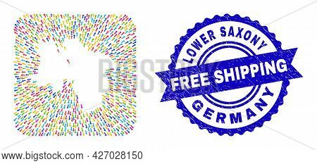 Vector Mosaic Lower Saxony Land Map Of Away Arrows And Rubber Free Shipping Stamp. Mosaic Lower Saxo