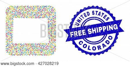 Vector Mosaic Colorado State Map Of Pointer Arrows And Scratched Free Shipping Badge. Collage Colora