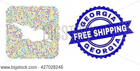 Vector Mosaic Georgia Map Of Navigation Arrows And Grunge Free Shipping Stamp. Collage Georgia Map C