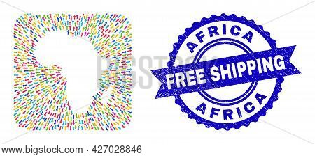 Vector Mosaic Africa Map Of Emigration Arrows And Grunge Free Shipping Stamp. Mosaic Africa Map Crea