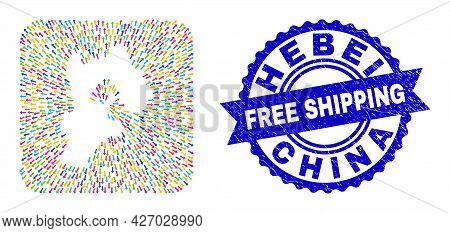 Vector Mosaic Hebei Province Map Of Direction Arrows And Grunge Free Shipping Badge. Mosaic Hebei Pr