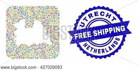 Vector Collage Utrecht Province Map Of Straight Arrows And Rubber Free Shipping Seal Stamp. Collage
