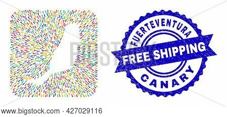 Vector Mosaic Fuerteventura Island Map Of Movement Arrows And Rubber Free Shipping Seal Stamp. Mosai
