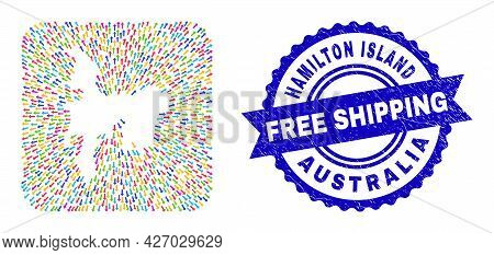 Vector Mosaic Hamilton Island Map Of Leaving Arrows And Rubber Free Shipping Seal Stamp. Mosaic Hami