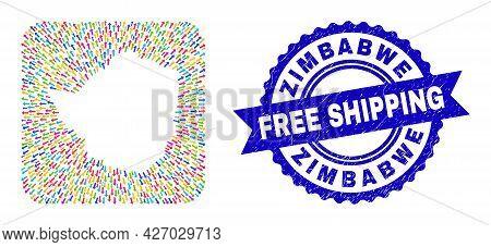 Vector Mosaic Zimbabwe Map Of Moving Arrows And Grunge Free Shipping Seal. Mosaic Zimbabwe Map Const