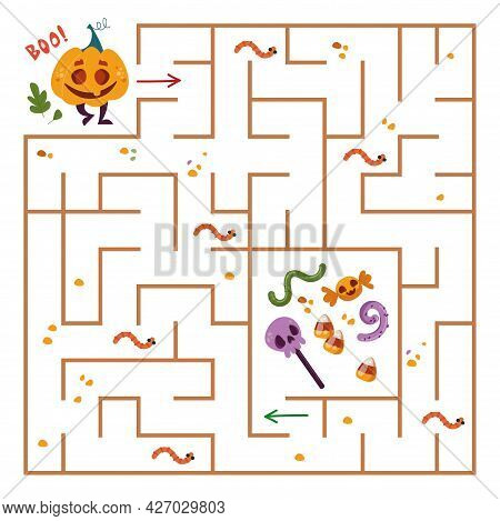 Halloween Game For Children. Square Maze With Pumpkin. The Monster Is Looking For A Way To Sweets Th