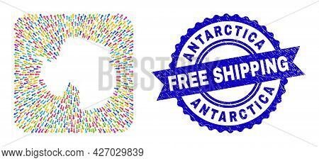 Vector Mosaic Antarctica Continent Map Of Pointer Arrows And Scratched Free Shipping Seal Stamp. Mos