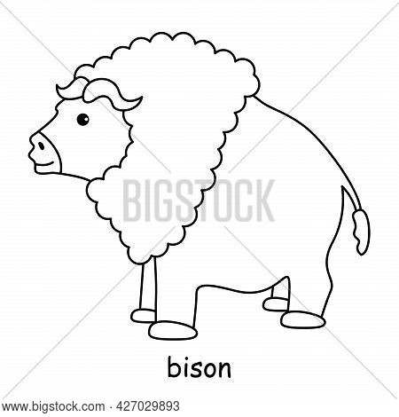 Children Coloring Book On The Theme Of Animal Vector, Bison