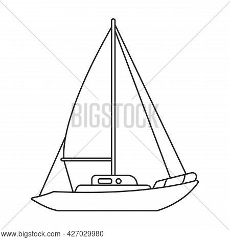 Yacht Sail Vector Outline Icon. Vector Illustration Sailboat On White Background. Isolated Outline I