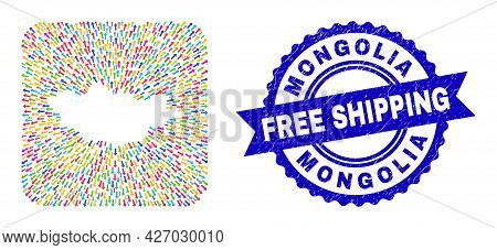 Vector Mosaic Mongolia Map Of Moving Arrows And Scratched Free Shipping Stamp. Mosaic Mongolia Map D